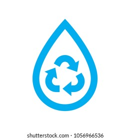 Save water icon. Blue recycle and reuse water drop symbol isolated on white background. Vector illustration.