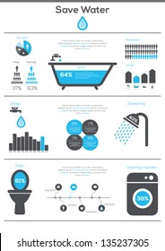 Save Water infographics. Information Graphics. Vector illustration