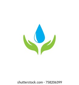 Save Water Logo Design, Combine Water and hand icon