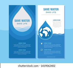 Save Water Minimal Concept Roll up banner, Poster, Postcard Template - Vector
