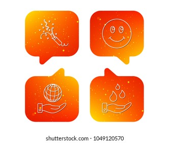 Save water, save planet and slapstick icons. Smiling face linear sign. Orange Speech bubbles with icons set. Soft color gradient chat symbols. Vector