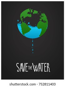 Save The Water Poster Vector Illustration
