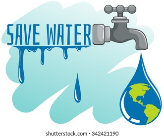 Save water theme with earth and faucet illustration