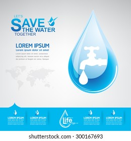 Save water Vector Concept Ecology Saving