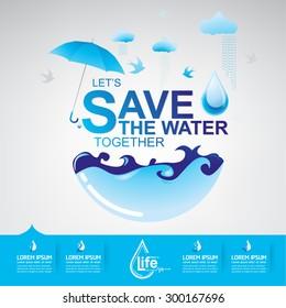 Save water Vector Concept Ecology Saving