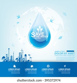 Save Water Vector Concept Water is Life.