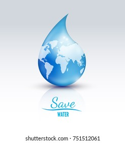 Save Water Vector Logo