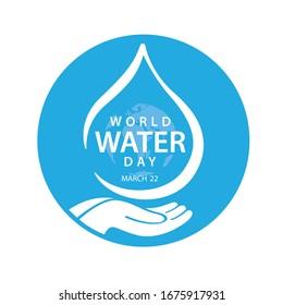 Sparen Sie Wasser. Weltwassertag-Konzept. Vektorillustration.