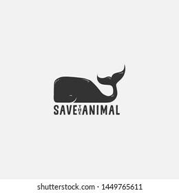 Save Whale Animal Logo Illustration