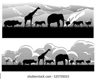 Save wild animals in Africa, vector