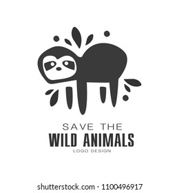 Save the wild animals logo design, protection the planet black and white sign vector Illustrations on a white background