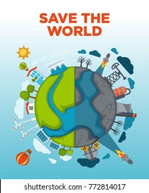 Save world agitation poster with Earth devided in half