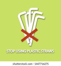save world concept . stop using plastic bag . say no to plastic straws . paper cut and craft style .