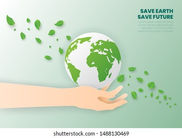 Save world concept with tree,Earth Day,Paper art and digital craft style