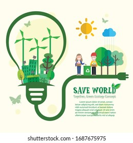 Save world ecology concept. Vector illustration