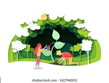 Save the world with ecology and environment conservation concept.People planting green forest with nature landscape background layers paper art style.Vector illustration.