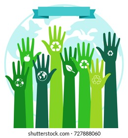 Save world ecology environmental concept. Green hands and blue Planet vector illustration
