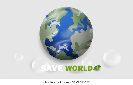 Save world and Global Warming concept with water drop and Earth on white or gray background.Creative vector background or banner design in EPS10 illustration.