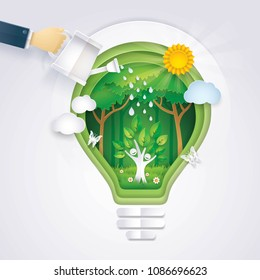 Save the world, Hand of Businessman watering Happy Tree icon Rising in Abstract Light bulb Background, Eco green energy lamp, Ecology, afforest, Convert into forest, Paper art vector and illustration