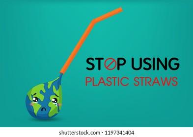Save The World. Stop using plastic straws. Illustration Vector EPS10.