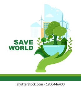 save the world vector Poster Template