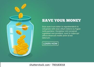 省下你的钱 概念图片与光泽的罐子和金币。 矢量插图