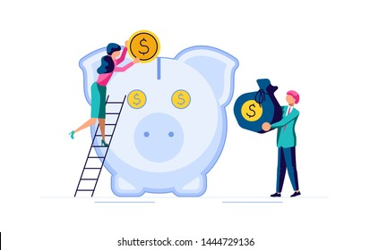 Saving or accumulating money concept. Team of young businessmen and large piggy bank in the form of a piglet. Flat Art Vector illustration