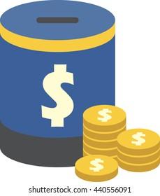 Saving Box Vector with dollar coins. Flat design.