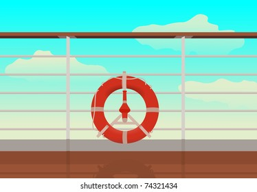 saving buoy in deck of cruise ship. reflection on deck.