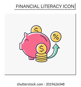 Saving color icon. Accumulate money. Cumulative money during life. Piggy bank. Financial literacy concept. Isolated vector illustration