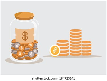 saving dollar coin in jar. concept vector illustration