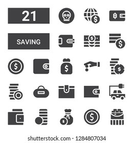 saving icon set. Collection of 21 filled saving icons included Coins, Coin, Coin stack, Wallet, Energy, Purse, Banknote
