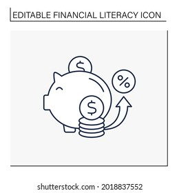 Saving line icon. Accumulate money. Cumulative money during life. Piggy bank. Financial literacy concept. Isolated vector illustration. Editable stroke