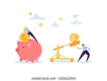 Saving Money Concept. Business Characters Collecting Golden Coins into the Pink Piggy Bank. Wealth, Budget and Earnings. Vector illustration