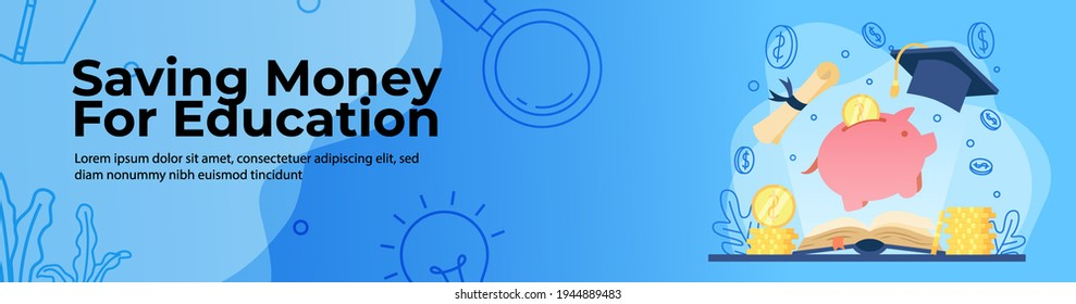Saving Money for education Web Banner Design. open book with light and piggy bank with gold coin. scholarship, student loan concept. header or footer banner.