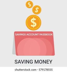 Saving money in a flat design ,llustration vector ,Marketing concept
