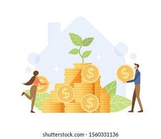 Saving money for home concept. Couple putting coin with growing plant on house graphic background. Vector illustration flat design style.