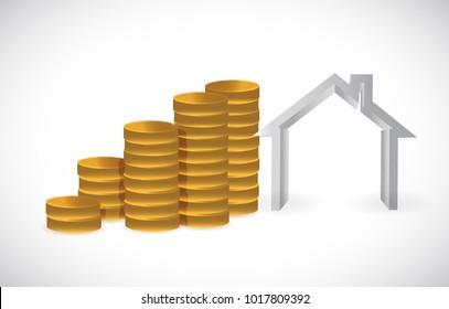 Saving Money for Home concept. Isolated illustration design over white