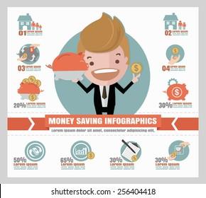 saving money info graphics.