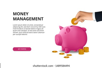 Saving money investment budgeting with hand put golden coin in to 3D pink piggy bank finance growth success business diversification