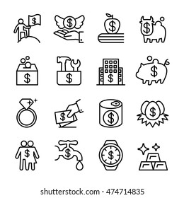 Saving money , investment , financial, Property icon set in thin line style