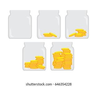Saving money in the jar bank vector