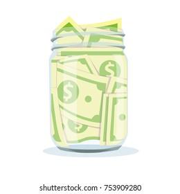 Saving money jar. Vector illustration.