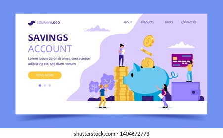 Saving money landing page - illustration with small people doing various tasks, piggy bank, wallet, credit card. Concept vector illustration for banking, finance