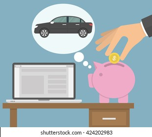 Saving money for a new car concept. Piggy bank dreaming about a car while a hand putting golden coin in the bank. Flat style