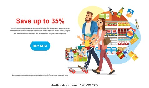 Saving Money Offer on Shop Sale Cartoon Vector Horizontal Web Banner with Parents Couple Riding Child on Supermarket Cart Full of Groceries Illustration. Food Store Big Discount Promotion Landing Page