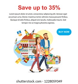Saving Money Offer on Shop Sale Cartoon Vector Square Web Banner with Parents Couple Riding Child on Supermarket Cart Full of Groceries Illustration. Food Store Big Discount Promotion Landing Page