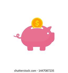 Saving money in to piggy bank vector icon illustration. Saving money icon symbol design