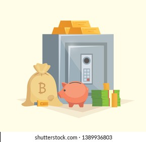Saving money vector illustration in cartoon style. Safe with money, gold bar, pink piggy bank and bitcoin.