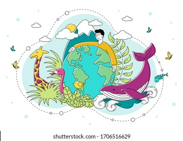 Saving the natural environment and Planet with a young man encircling a globe with his arms surrounded by plants, birds, animals and marine life, vector illustration
